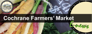 An image of multiple different coloured carrots along with a black chock board with white indecipherable writing in the background. The words Cochrane Farmers' Market are across the middle of the image. A circle that has a black outline with small white circles going around the edge is placed on the right-hand side of the image. The word E-News written in green overlaps with the circle on the bottom right-hand side of the image.