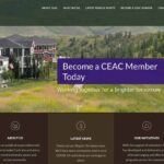 """An image of the Cochrane Environmental Action Committee's website home page that displays their logo int the top left corner and an image of homes onlooking a walking path surrounded by green grass and trees. The words on a purple background say: """"become a CEAC member today. Working together. For a brighter tomorrow."""" Below the image are three text blocks of white text on a brown background that say: """"ABOUT US CEAC is an apolitical organization with a mission to make Cochrane and area a more environmentally aware and active community. VIEW OUR ABOUT PAGE LATEST NEWS Check out our Blog for the latest news. We'll have more community events once COVID-19 restrictions are no longer in place. LATEST NEWS OUR INITIATIVES With the support of volunteers, CEAC has developed and delivered a variety of broad-ranging and effective programs across the community."""""""