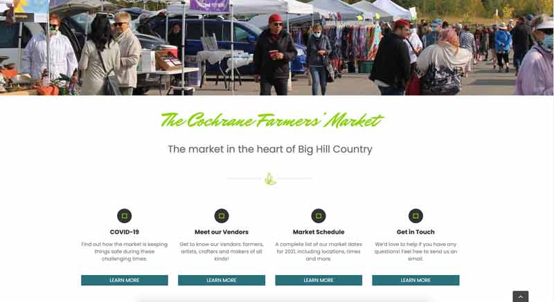 An image of the Cochrane Farmers' Market's home webpage.