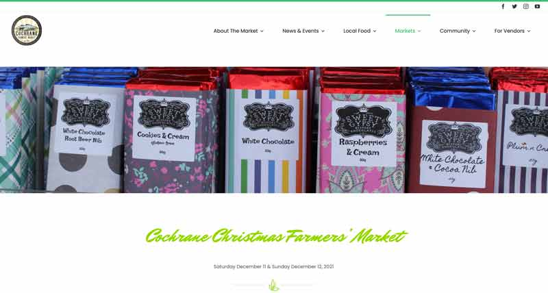 An image of the Market by the Bow page on the Cochrane Farmers' Market website that displays a close up header image of large purple radishes.